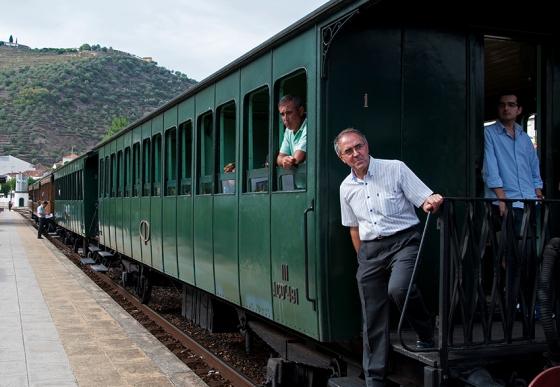 Comboio histórico na estação de Pinhão. Ele circula de julho a outubro na Linha do Douro
