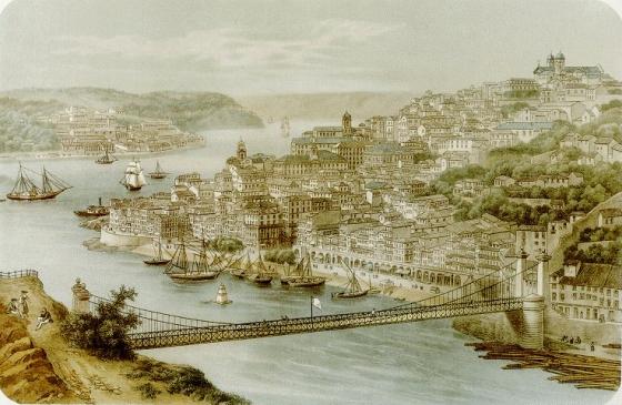 Antes dela, a ligação com Vila Nova de Gaia era feira por uma ponte pênsil