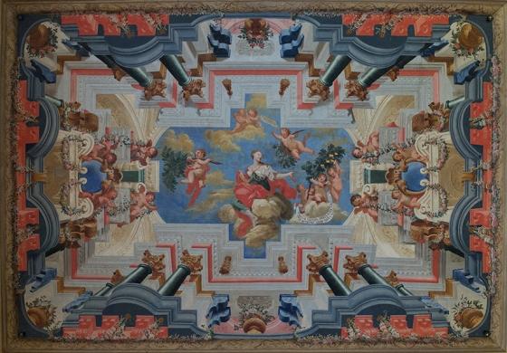Um dos tetos coloridos que adornam as três salas: decorados com alegorias dedicadas ao triunfo da universidade