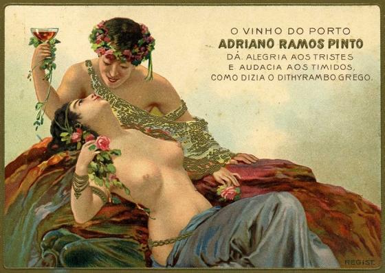 Pôster de estilo Belle Époque, usado pela Ramos Pinto no início do século 20 para divulgar seus vinhos: ousadia