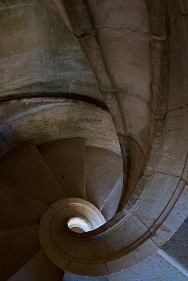 Uma das escadas em espiral que conduzem ao Terraço da Cera