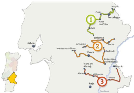 Os três circuitos alentejanos, nos distritos de Portalegre (1), Évora (2) e Beja (3)