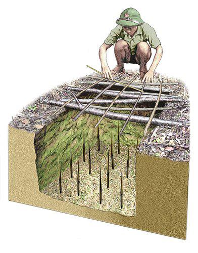 A semelhança entre as covas escavadas nos fortes de Elvas e as armadilhas vietcongues usadas quase 200 anos depois