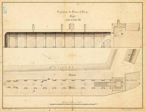 Uma planta da cisterna, projetada e executada pelo engenheiro francês Nicolau de Langres